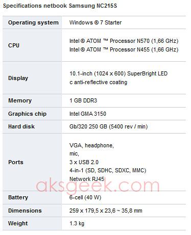 Samsung NC215S specs