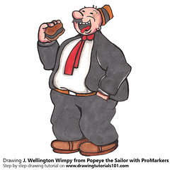 J. Wellington Wimpy from Popeye the Sailor with ProMarkers (drawingtutorials101.com) Tags: j wellington wimpy popeye sailor cartoons tv animated e c segar promarker alcohol markers promarkers color coloring draw drawing drawings how