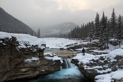 Elbow Fall (Bluesky251) Tags: alberta canada cloud cold elbowfall forest freeze landscape looking mountains natural nature person river rocks snow tourist travel waterfall white winter kananaskis