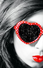 (       ) Tags: red bw white black cute girl sunglasses canon 50mm heart small lips and sis f18