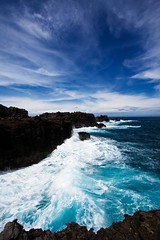Black and Blues 2 (backpackphotography) Tags: ocean blue sky black rock clouds hawaii coast whitewater waves dramatic rocky maui hi drama lanscape blackblue blackandblue backpackphotography