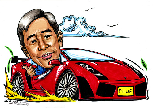 Caricature of boss in Lamborghini A4
