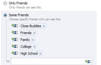 Facebook status message privacy