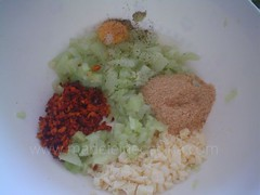 Ingredientes del relleno para los chayotes