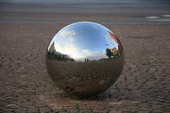 Reflections in a Finnish sphere (RaSeLaSeD - Il Pinguino) Tags: sky reflection metal finland helsinki perspective sphere cielo riflessi finlandia prospettiva riflesso sfera metallo romamor clubromanofotografia newgoldenseal