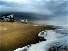 Foggy Shoreline (hburrussiii) Tags: ocean sky cloud house storm beach canon coast is bill nc kill waves hurricane north shoreline powershot hills carolina devil outer hdr banks obx s5 3xp kdh photomatix vftw