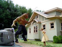 Shoo! (Theresa Thompson) Tags: monster 1950s terror 50s nightmare housewife varmint elginpark pestcontrol michaelpaulsmith