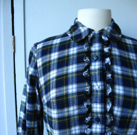 vintage Abercrombie & Fitch blue plaid flannel shirt with ruffles