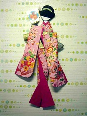Pink lady with battledore - Hand-made Japanese paper doll (tengds) Tags: pink kimono obi hairstyle papercraft japanesepaper washi ningyo furisode handmadedoll chiyogami battledore yuzenwashi japanesepaperdoll origamidoll shikishidoll tengds