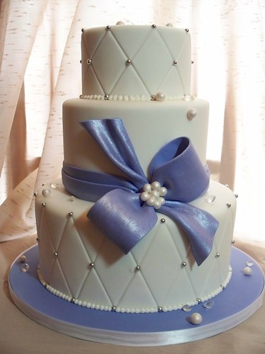 Diamond Embossed Wedding Cake Vanilla cake filled and crumbcoated in
