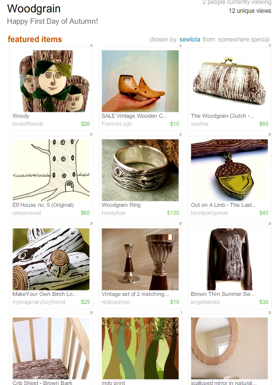 Etsy Treasury Woodgrain