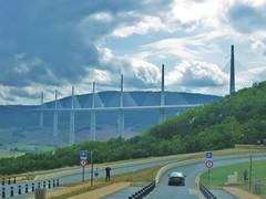 Millau (Suze1974) Tags: road bridge sky cloud france car high scenery europe motorway central dramatic viaduct millau highest worls