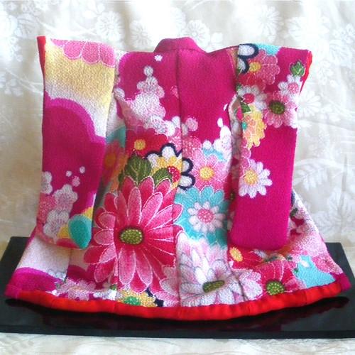 Mini Kimono - Rose pink Chrysanthemum and plum blossom 3