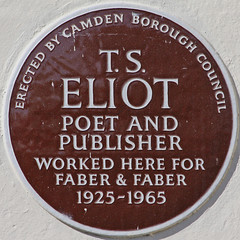 Photo of T. S. Eliot brown plaque