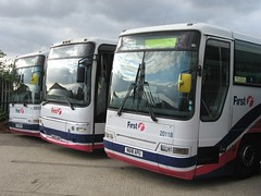First Eastern Counties 20121, 20353 and 20118 (peter_b2008) Tags: buses volvo transport coaches 20121 plaxton firstgroup 20118 20353 firsteasterncounties n618apu p731nvg wa05unf