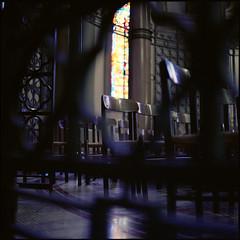 . (Ansel Olson) Tags: light shadow 120 6x6 mamiya tlr film mediumformat virginia dof cathedral kodak bokeh prayer stainedglass richmond va kneeling portra sacredheart c330 400vc c330s autaut mamiyasekor80mmf28