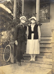 WWI U.S. Sailor and Wife during 1918 Flu Pandemic (sunnybrook100) Tags: bicycle sickness virus flu influenza stainedglasswindow disease illness victorianhouse epidemic pandemic surgicalmask swineflu spanishflu h1n1 cytokinestorm
