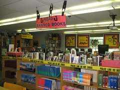 Banned Books Week display (nataliesap) Tags: library books jefferson 2009 banned middleschool jms bannedbooksweek bannedbooks bookdisplay liblibs