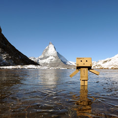 Dieter is skating on thin ice @ Riffelsee 2757 metres (Toni_V) Tags: lake alps landscape schweiz switzerland amazon suisse hiking matterhorn riffelsee alpen dieter svizzera wallis 2009 valais cervin randonnée d300 sigma1020mm danbo cervino rotenboden toniv dsc4386 theperfectphotographer danboard 091013