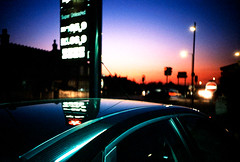 focus reflections (MrLomo) Tags: blue sunset england sky reflection car sign night lights lomo lca lomography crossprocessed cross dusk garage lomolca petrol texaco agfa processed petrolstation fordfocus sidcup precisa agfaprecisact