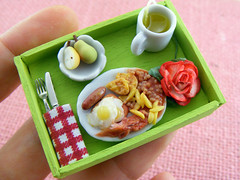Green Breakfast Tray (Shay Aaron) Tags: wood food house flower green scale kitchen coffee rose fruit breakfast miniature bacon beans healthy doll tea handmade aaron sausage fake mini polymerclay fimo fries tiny pear brunch faux shay tray 12th 112 sunnysideup omelet dollhouse petit lipton twelfth              shayaaron       lunchbreakbreakfastinbed