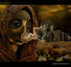 The Resistance Fighter (garrettscottdesign) Tags: city art composition digital photoshop dark fire skull mask grim smoke apocalypse gas future 2012 endofworld
