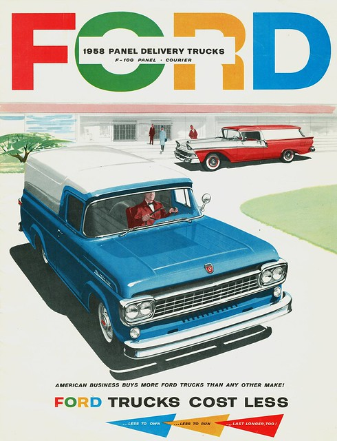 ford sedan panel f100 1958 delivery trucks courier brochure