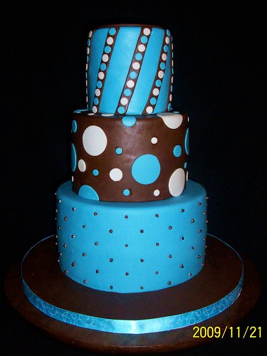 Blue and Brown Wedding Cake