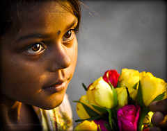 Roses for the one you love... (Yug_and_her) Tags: life flowers light roses portrait india girl face evening kid big eyes nikon child candid touch innocent human mumbai incredible selling marinedrive d90 trvael