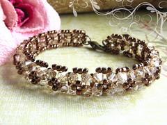 Chocolate Mousse (Diamond Dolls Couture) Tags: jewelry bracelet etsy beadwork swarovskicrystal antiquebrass beadweaving amberlly
