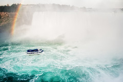 Maid Of The Mist (Philipp Klinger Photography) Tags: new york trip blue summer vacation people orange usa mist holiday ny ontario canada tree green fall nature water rain yellow america forest landscape boat us rainbow nikon ship tour wasserfall state teal coat border north niagara falls empire amerika philipp maid poncho maidofthemist current kanada on klinger tourquoise niagaraflle d700
