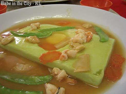 Jade Tofu (Tofu is made with wheat grass juice) (RM25)