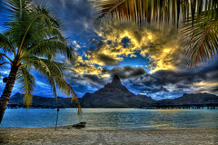Bora Bora Golden Sunset (vgm8383) Tags: sunset sun mountain tree beach clouds golden paradise pacific coconut palm motu hdr intercontinental borabora frenchpolynesia thalasso thalassospa