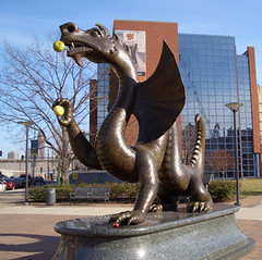 Drexel's Mascot with Fruit