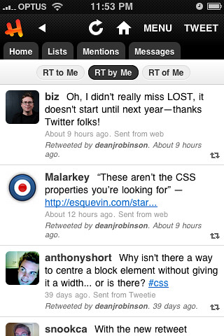 Retweets in Hahlo 4.1