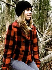 1/365 (Charlotte Hayes) Tags: portrait woman girl hat woods coat blonde plaid lumberjack lumberjane