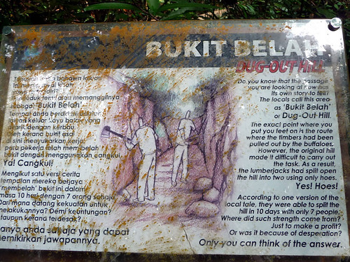Pantai Kerachut - dug out hill sign