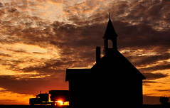 Thru The Light (StephenZacharias) Tags: sunset church clouds steeple manitoba semitruck silhoutte eighteenwheeler ntp highway75 unionpoint 65142 unionpointunitedchurch thruthelight