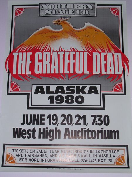 poster for the Grateful Dead at West High School in Anchorage, Alaska - borrowed from www.deadlists.com