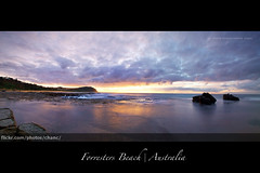 Forresters Beach Panorama, New South Wales (Christopher Chan) Tags: panorama sunrise canon dawn rocks waves sydney australia nsw newsouthwales centralcoast 1022mm 30d forrestersbeach