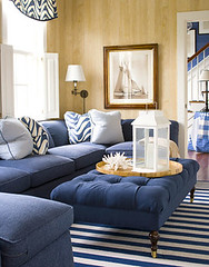 Classic blue + white Nantucket living room: Faux bois wallpaper + striped rug (SarahKaron) Tags: wallpaper house inspiration home design designer interior room nantucket decorating ottoman decor blueandwhite housebeautiful nobilis whiteandblue bluesofa blueupholstery stripedrug fauxbois modernprint graphicprint modernwallpaper