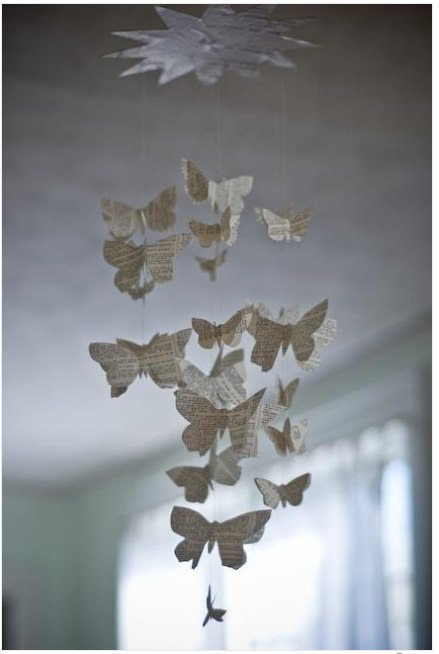 Wordy Butterfly Mobile by royalbuffet on Etsy
