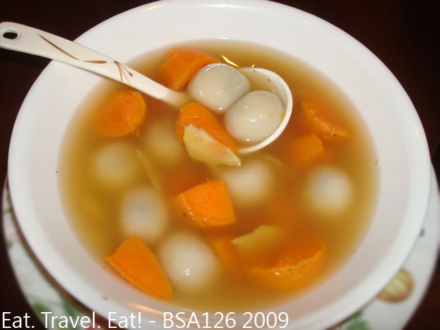 Sesame Glutinous Rice Balls with Sweet Potato and Ginger Sweet Soup