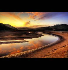 """ MEANDER THREE CLIFFS BAY "" (Wiffsmiff23) Tags: light sky mist beach misty clouds sunrise reflections river fire bay sand reflect gower meander traeth threecliffs thegower excellentcapture mywinners 3cliffsbay wiffsmiff23"