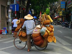 Hanoi (Py All) Tags: street hat bike bicycle wheel asia vietnam viet chapeau asie hanoi wicker rue vlo nam roue osier vendeur saleman earthasia