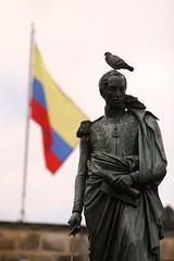 Statue of Bolvar (nathangibbs) Tags: plaza blue red simon yellow statue bandeira colombia pigeon flag bogot bolivar bolvar bandera esttua plazabolvar