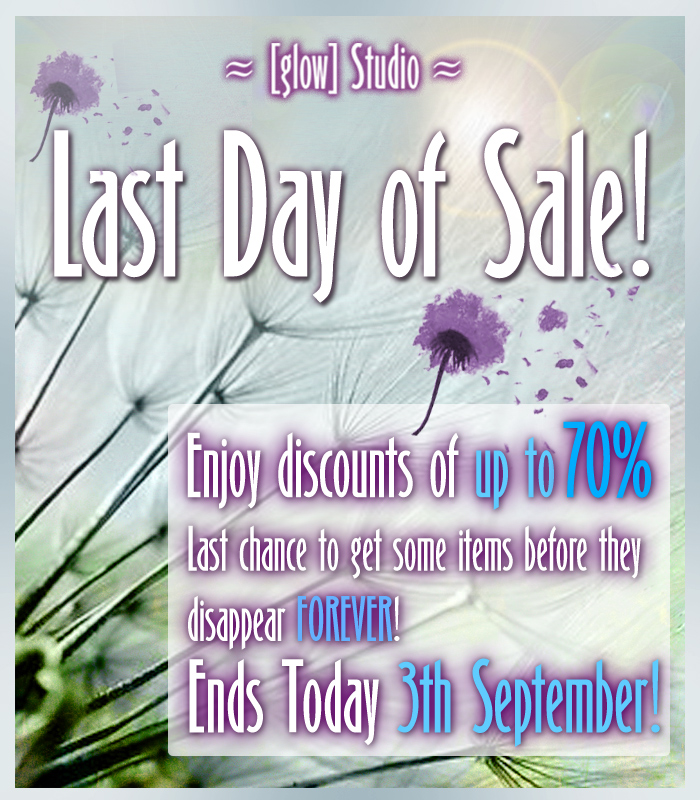 Tomorrow - last day of sale !
