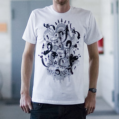 Chombamigos b/w T-Shirt (Stick-A-Thing_____S_____ A_____T) Tags: urban cute art illustration print happy design sweet character tshirt silkscreen kawaii diseo desenho ilustracion personagem camisa ilustracao stickathing abettertomorrowcom