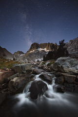Starry Sierra Stream (Mike Hornblade) Tags: mountains stars landscape backpacking sierranevada flowingwater variosonnar163528za