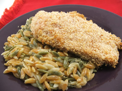 Crunchy Baked Chicken with Orzo